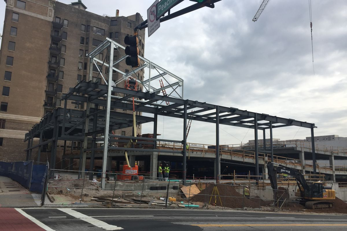 Two stories of steel framing.