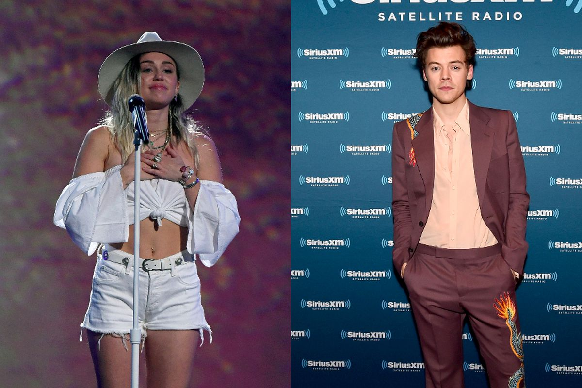 Miley Cyrus, left, and Harry Styles, right