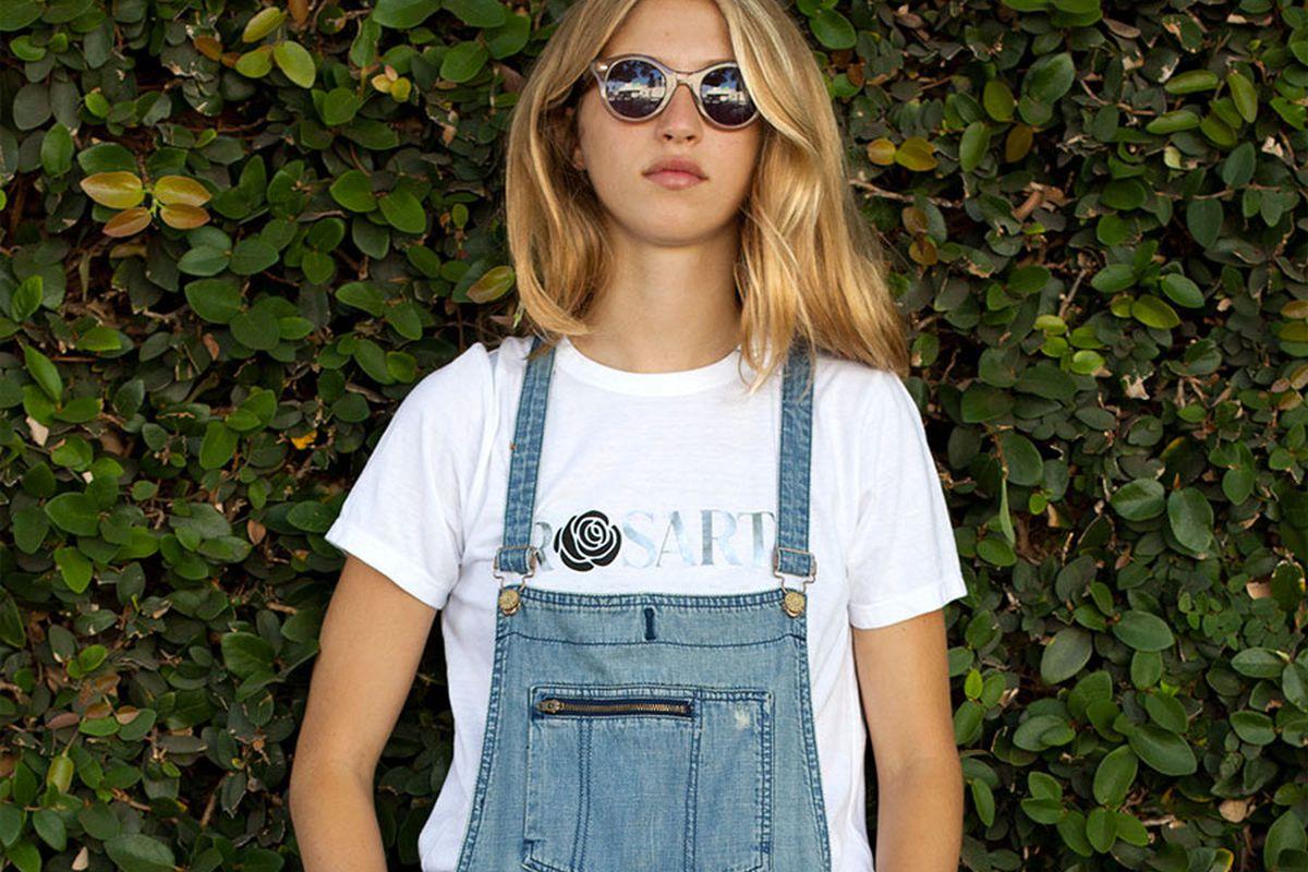 "Rodarte metallic Rosarte T-shirt, <a href=""http://shop.thezoereport.com/collections/apparel/products/rodarte-rosarte-tee-shirt?variant=858551889"">$113</a>."