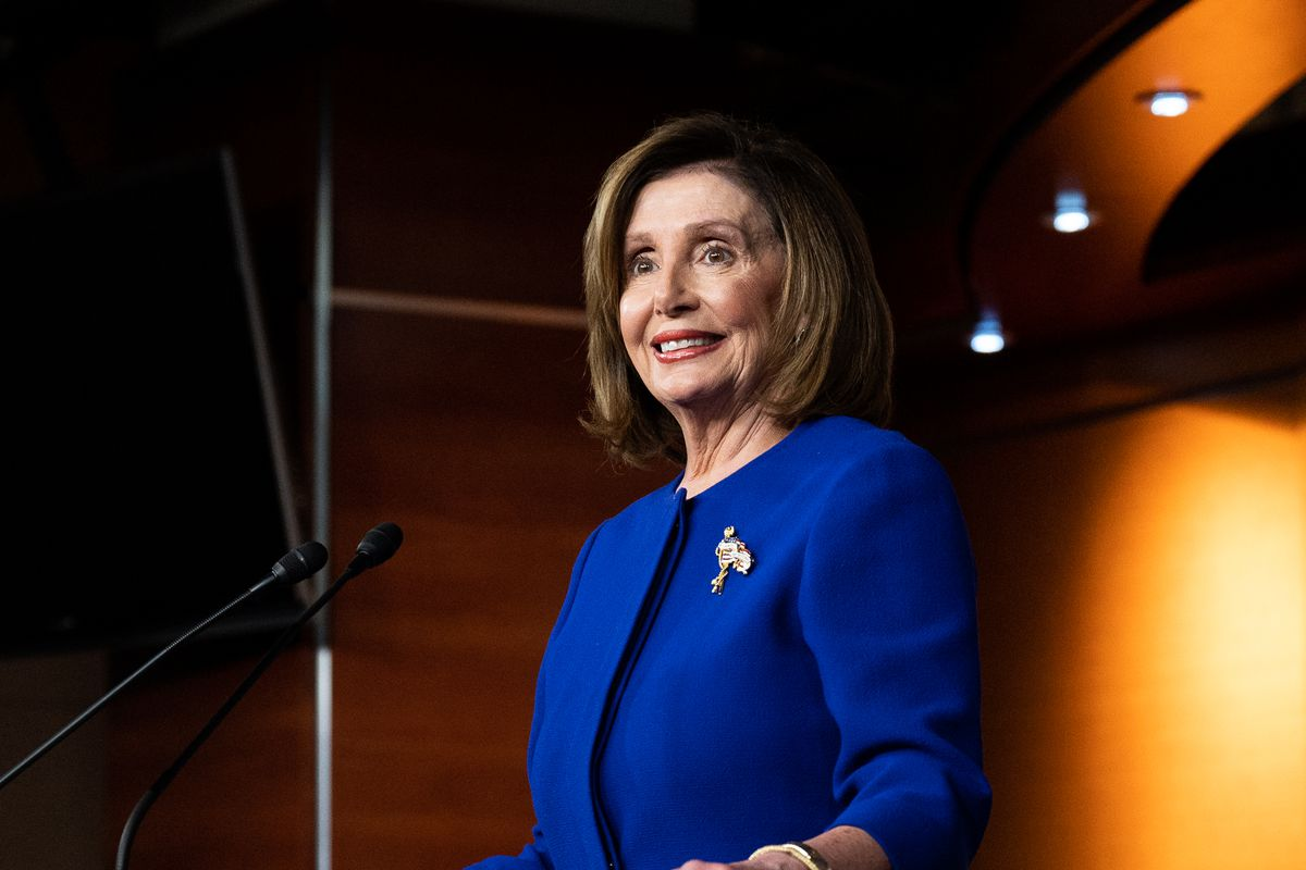 U.S. Representative Nancy Pelosi (D-CA) speaks during her weekly press conference at HVC Studio A in Washington, DC on January 9, 2020