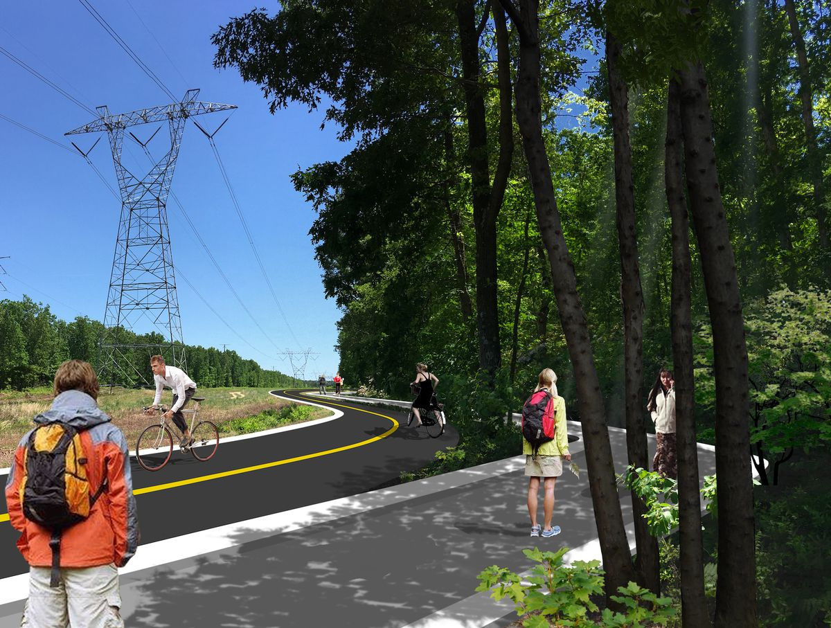 A rendering of electrical transmission lines in a forest with running and cycling trails underneath them.