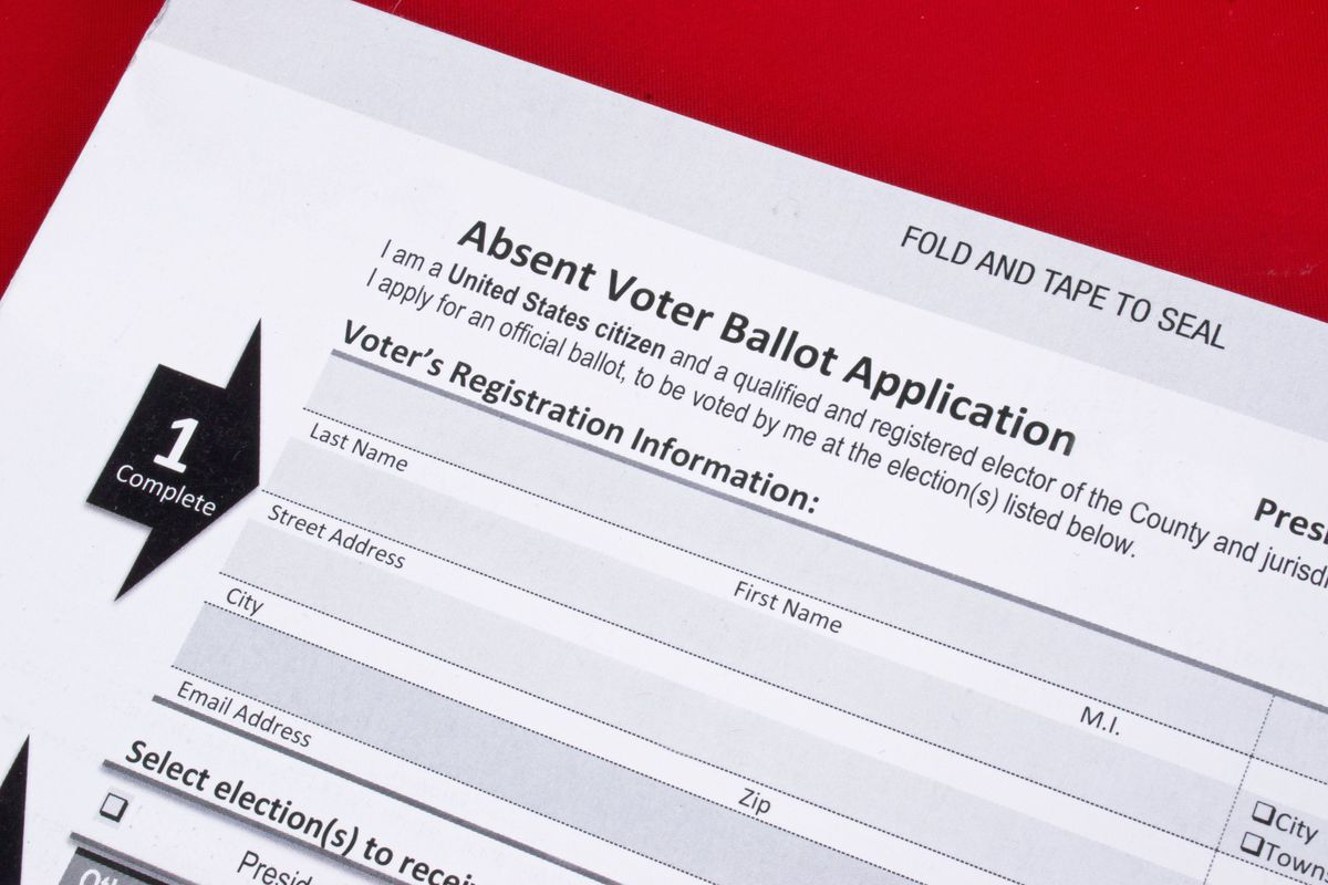 An example of a mail-in absentee ballot form.