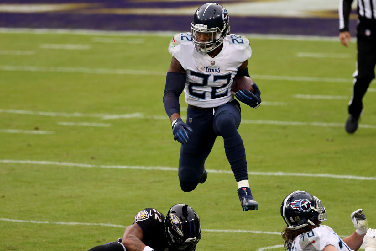 Running back Derrick Henry #22 of the Tennessee Titans carries the ball against the Baltimore Ravens at M&T Bank Stadium on November 22, 2020 in Baltimore, Maryland.