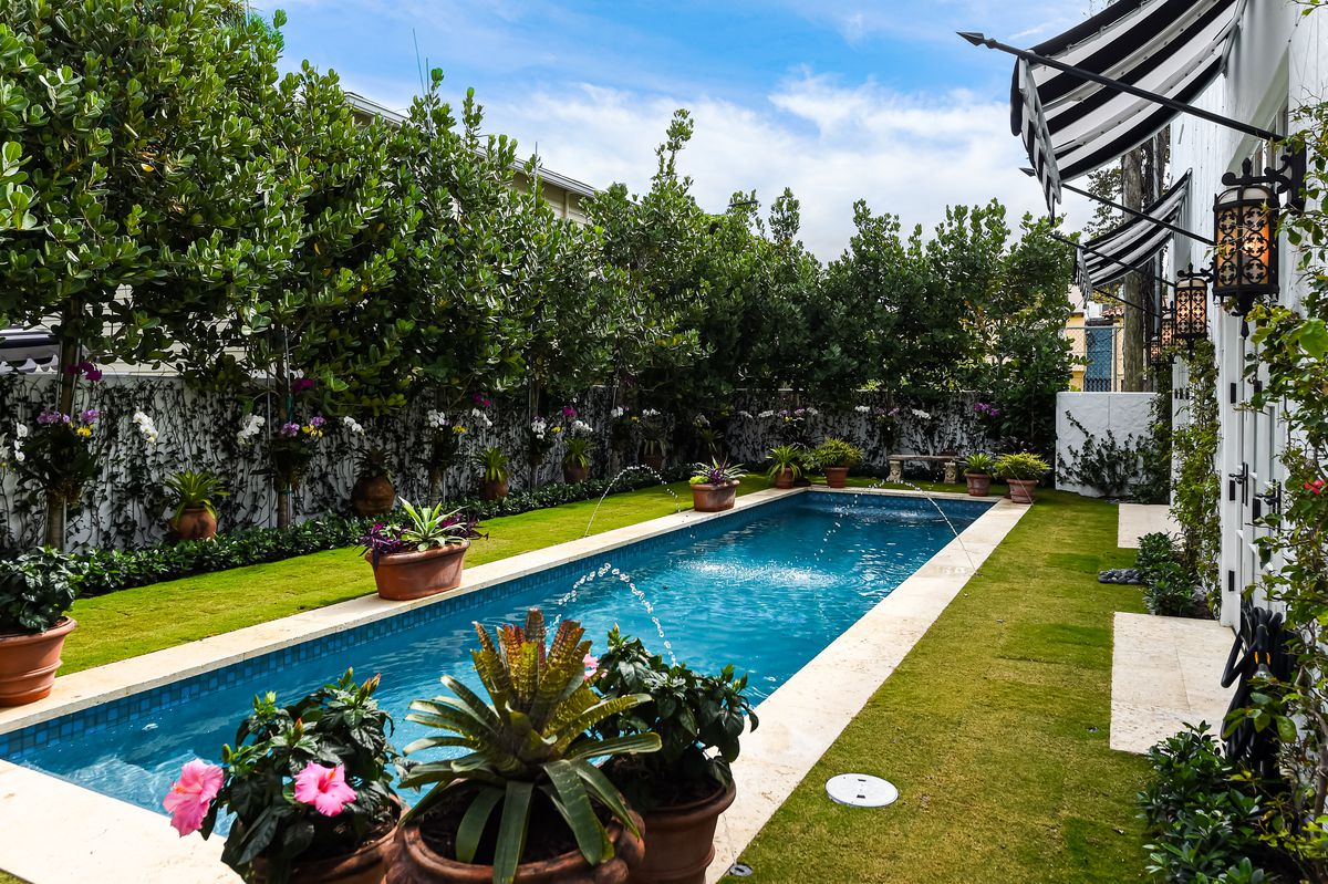 A long, narrow pool sits in a grassy lawn surrounded by fruit trees and potted plants.