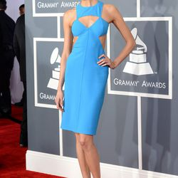 Model Karlie Kloss in sky blue Michael Kors.