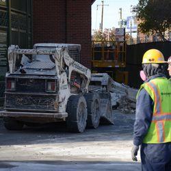10:16 a.m. Debris pile, just outside of the bleacher gate -