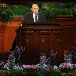 President Thomas S. Monson gives a brief message to the priesthood members during their session of the 186th annual general conference of The Church of Jesus Christ of Latter-day Saints in Salt Lake City Saturday, April 2, 2016.