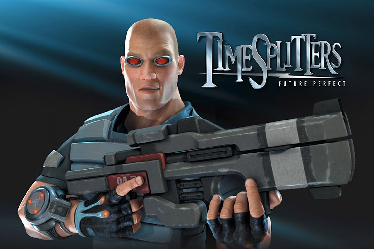 A character from Timesplitters: Future Perfect holding a gun