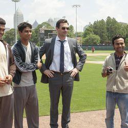 "From left, Dinesh (Madhur Mittal), Rinku (Suraj Sharma), J.B. Bernstein (Jon Hamm) and Amit (Pitobash) are featured in this scene from ""Million Dollar Arm."""
