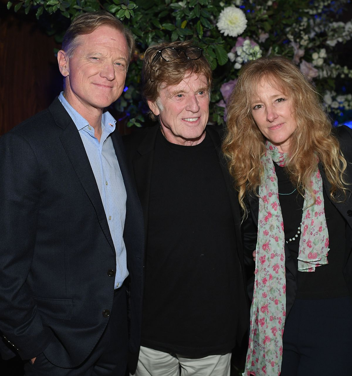 """James Redford (left) and his parents Robert Redford and Shauna Redford attend the premiere of """"Our Souls At Night"""" at at The Oak Room in 2017 in New York City."""