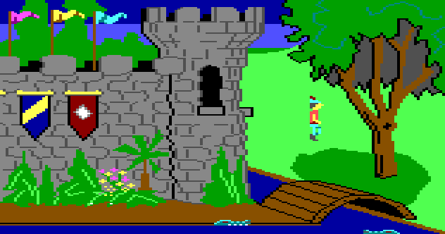 An image of a simple-looking game showing a person in front of a pixel-art castle