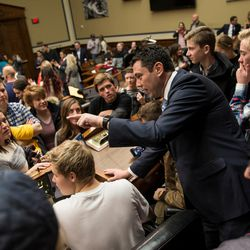 Rep. Jason Chaffetz, R-Utah, talks to members of the American Fork High School Student Council during a Utah delegation reception in the House Oversight and Government Reform Committee Room in the Rayburn Building in Washington, D.C., on Thursday, Jan. 19, 2017.