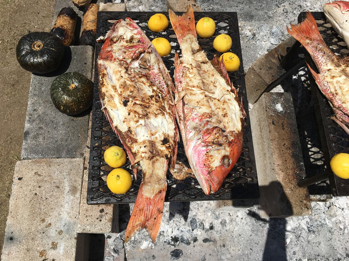 Picked fish at the fire pits at Austin Food & Wine Festival 2019