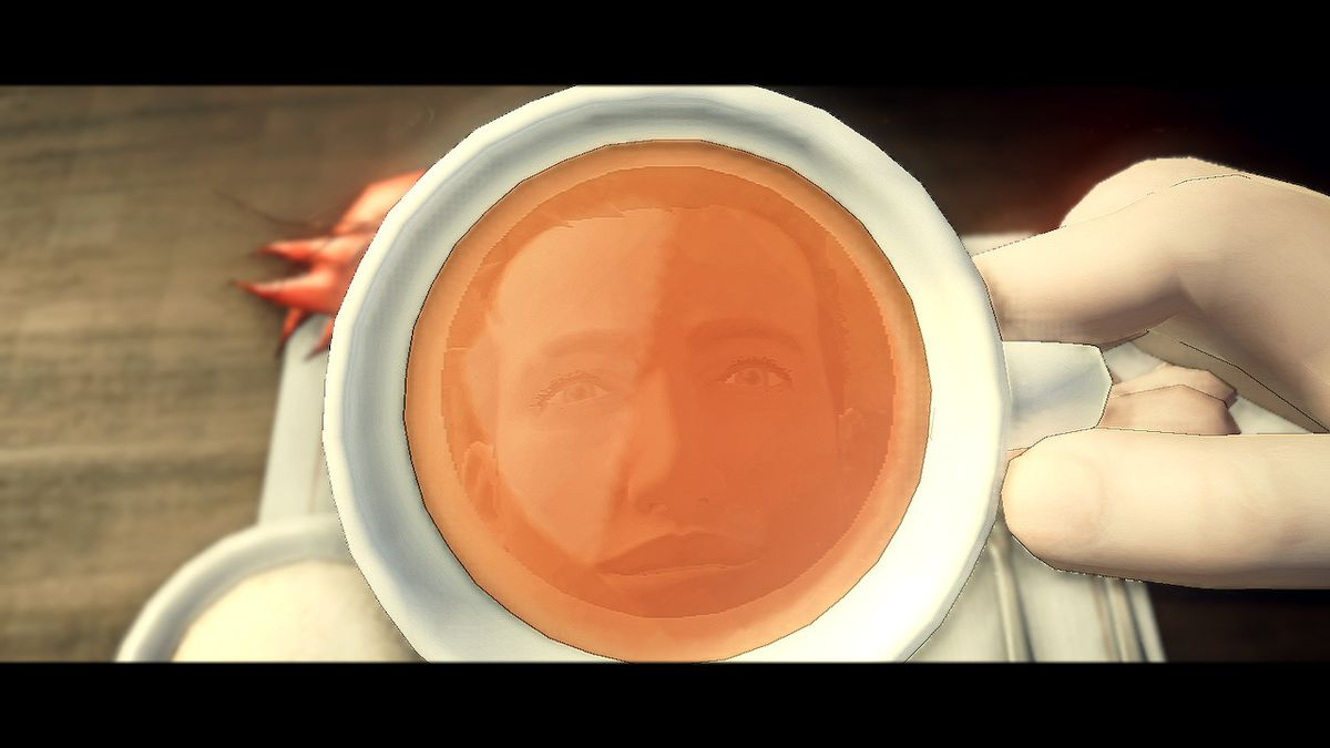 Agent York stares at his refection in a coffee cup in Deadly Premonition 2: A Blessing in Disguise