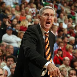Jazz coach Jerry Sloan screams at referees during a game against Houston at the Delta Center on Nov. 1, 2006.