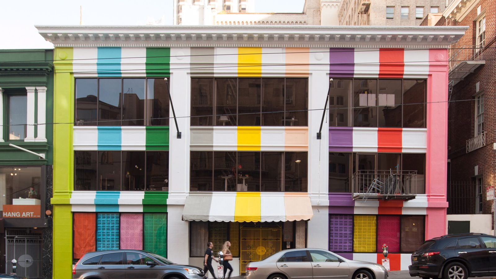 Why is this sutter street building painted like fruit for San francisco color factory