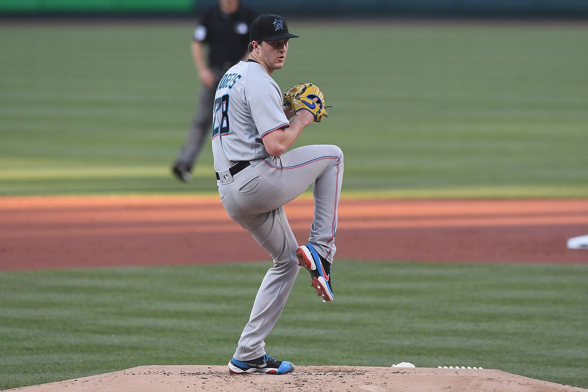 Trevor Rogers #28 of the Miami Marlins pitches in the first inning against the St. Louis Cardinals at Busch Stadium on June 15, 2021 in St Louis, Missouri.