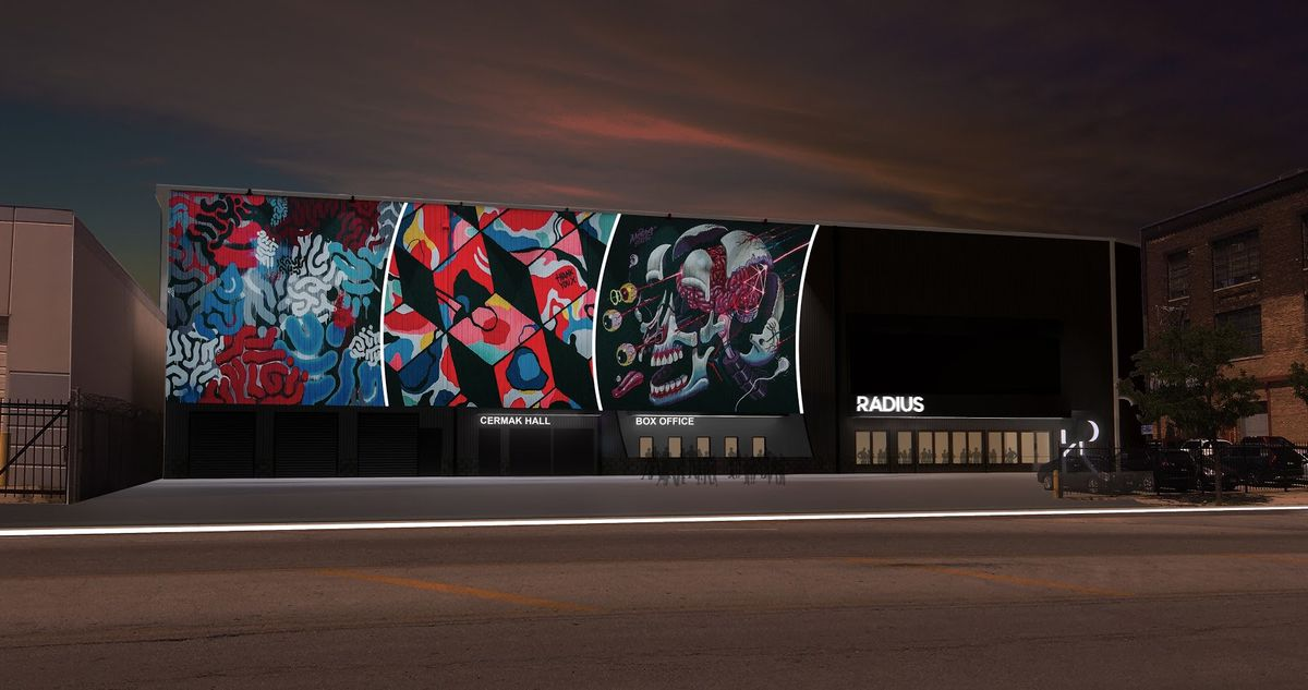 A colorful mural outside a rendering of a music venue.