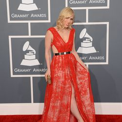 Natasha Bedingfield's red Emerson by Jackie Fraser-Swan was cut-out all over the place.