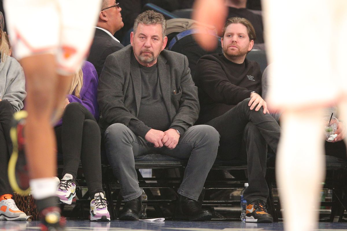 New York Knicks executive chairman James Dolan watches the game during the first quarter against the Washington Wizards at Madison Square Garden.