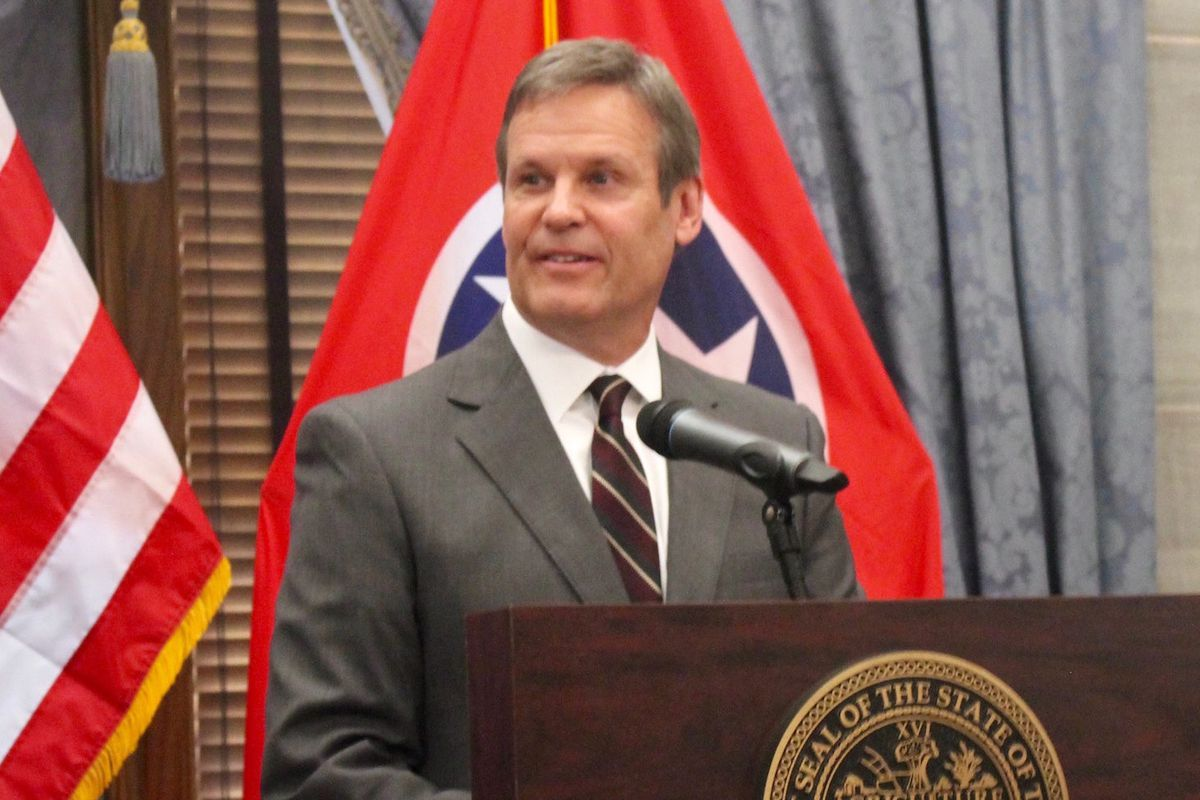 Gov.-elect Bill Lee speaks with reporters the day after being elected the 50th governor of Tennessee. The Republican businessman will take office on Jan. 19.