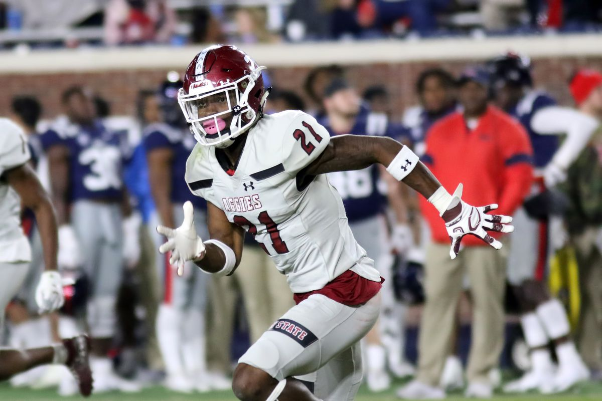 New Mexico State Aggies defensive back Rodney McGraw II during the game between the New Mexico State Aggies and the Ole Miss Rebels on November 9, 2019 at Vaught-Hemingway Stadium in Oxford, Mississippi.