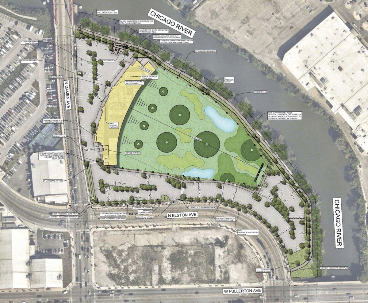 An overhead diagram of an intersection. At its top-right corner, and next to a river, there is a crescent shaped building next to a green driving range. The development is surrounded by parking spaces.