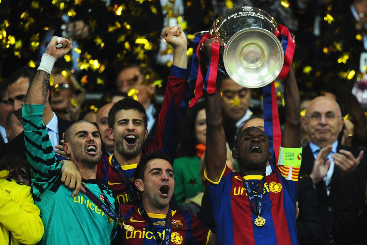 Image result for eric abidal and puyol uefa champions league 2011