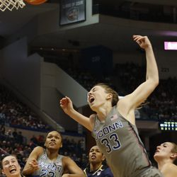 UConn's Katie Lou Samuelson (33) reacts after being fouled during the Notre Dame Fighting Irish vs UConn Huskies women's college basketball game in the Women's Jimmy V Classic at the XL Center in Hartford, CT on December 3, 2017.