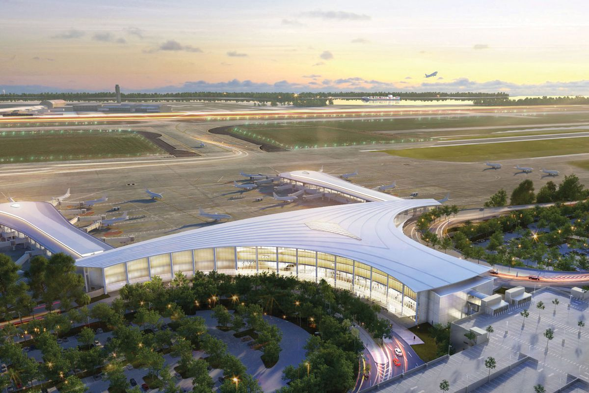 An aerial rendering of a T-shaped airport terminal with glass curving around its edges.