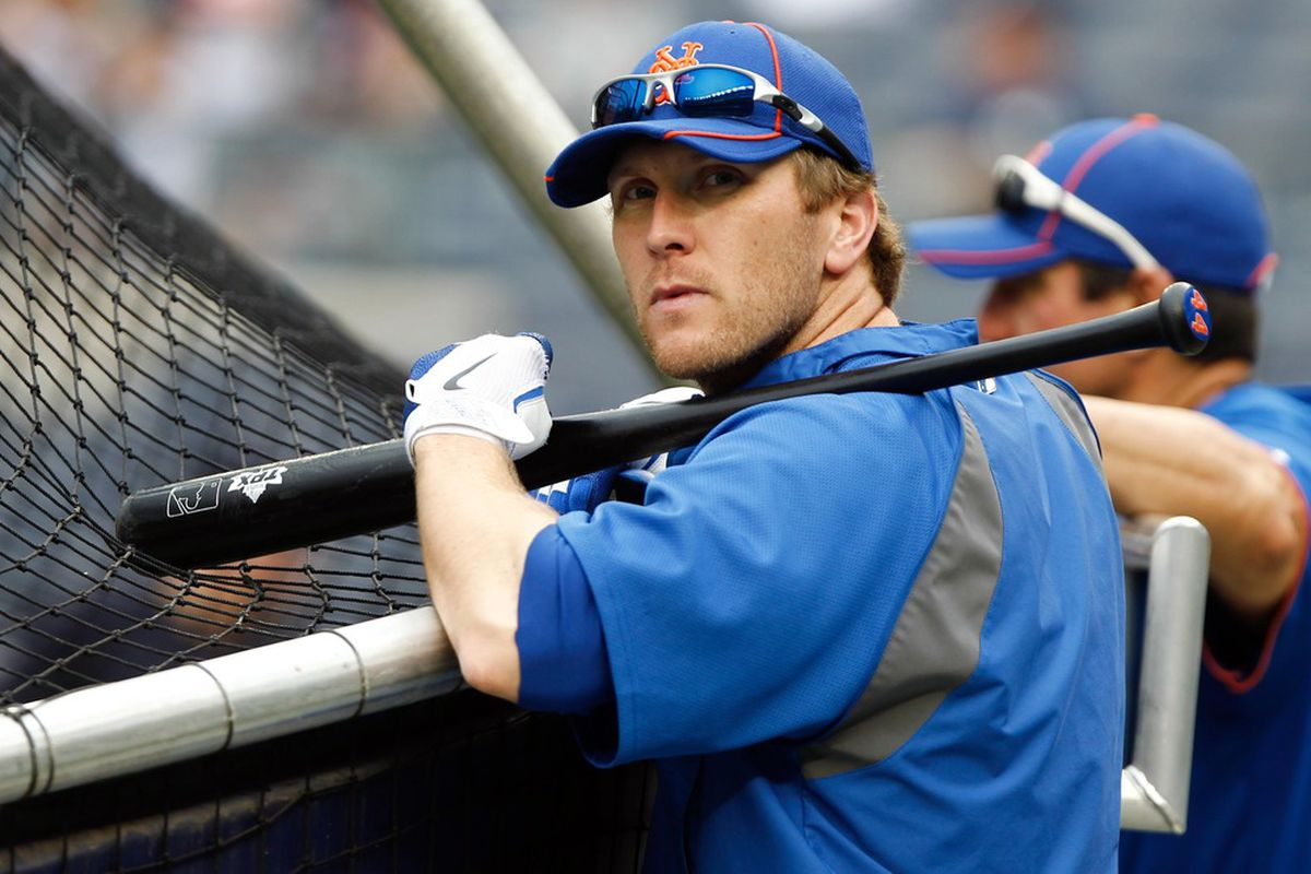 June 9, 2012; Bronx, NY, USA; New York Mets left fielder Jason Bay (44) during batting practice before the game against the New York Yankees at Yankee Stadium. Mandatory Credit: Debby Wong-US PRESSWIRE