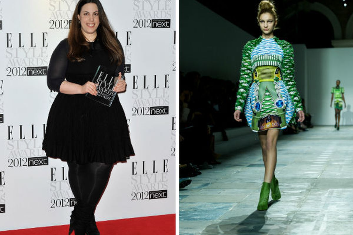 Designer Mary Katrantzou and one of her looks from SS 2012, via Getty