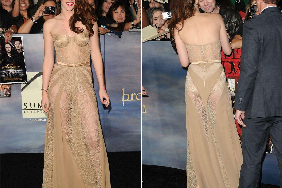 Kristen Stewart Rocks Granny Panties On The Red Carpet -9481