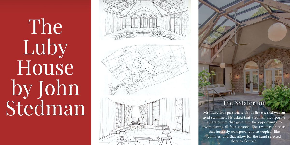 A triptych featuring text, line drawings, and an image of an indoor pool.