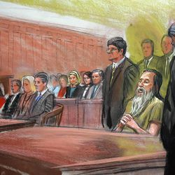 Courtroom sketch shows Brian David Mitchell, seated, singing while the U.S. District Court clerk in Salt Lake City announces the verdict in his trial Friday. The seven-man, five-woman jury determined that Mitchell is not mentally ill and should be punished for his crimes.