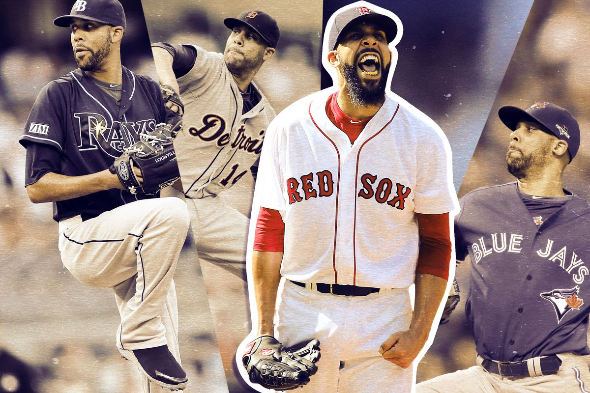 Collage of David Price in different uniforms he's worn throughout his career