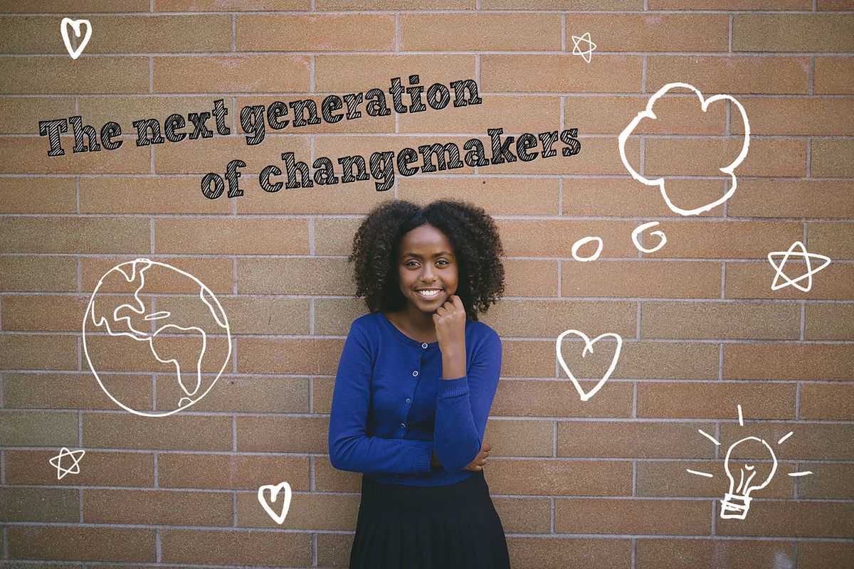 """Welela Solomon stands in front of a brick wall. The photo has text decoration stating """"The next generation of changemakers"""""""
