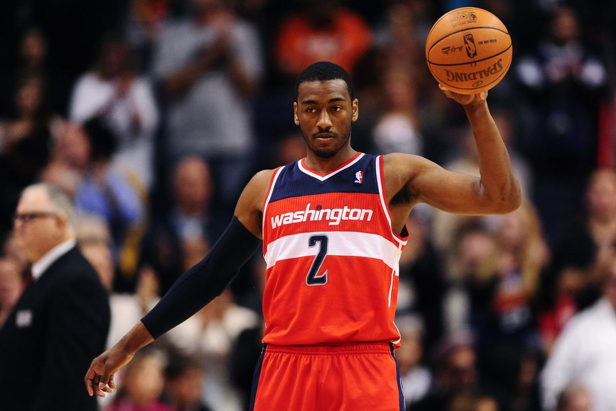 Feb. 20, 2012; Phoenix, AZ, USA; Washington Wizards guard John Wall during game against the Phoenix Suns at the US Airways Center. The Suns defeated the Wizards 104-88. Mandatory Credit: Mark J. Rebilas-US PRESSWIRE