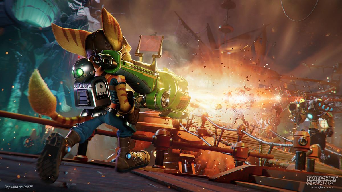 Ratchet uses a rocket launcher in Ratchet & Clank: Rift Apart