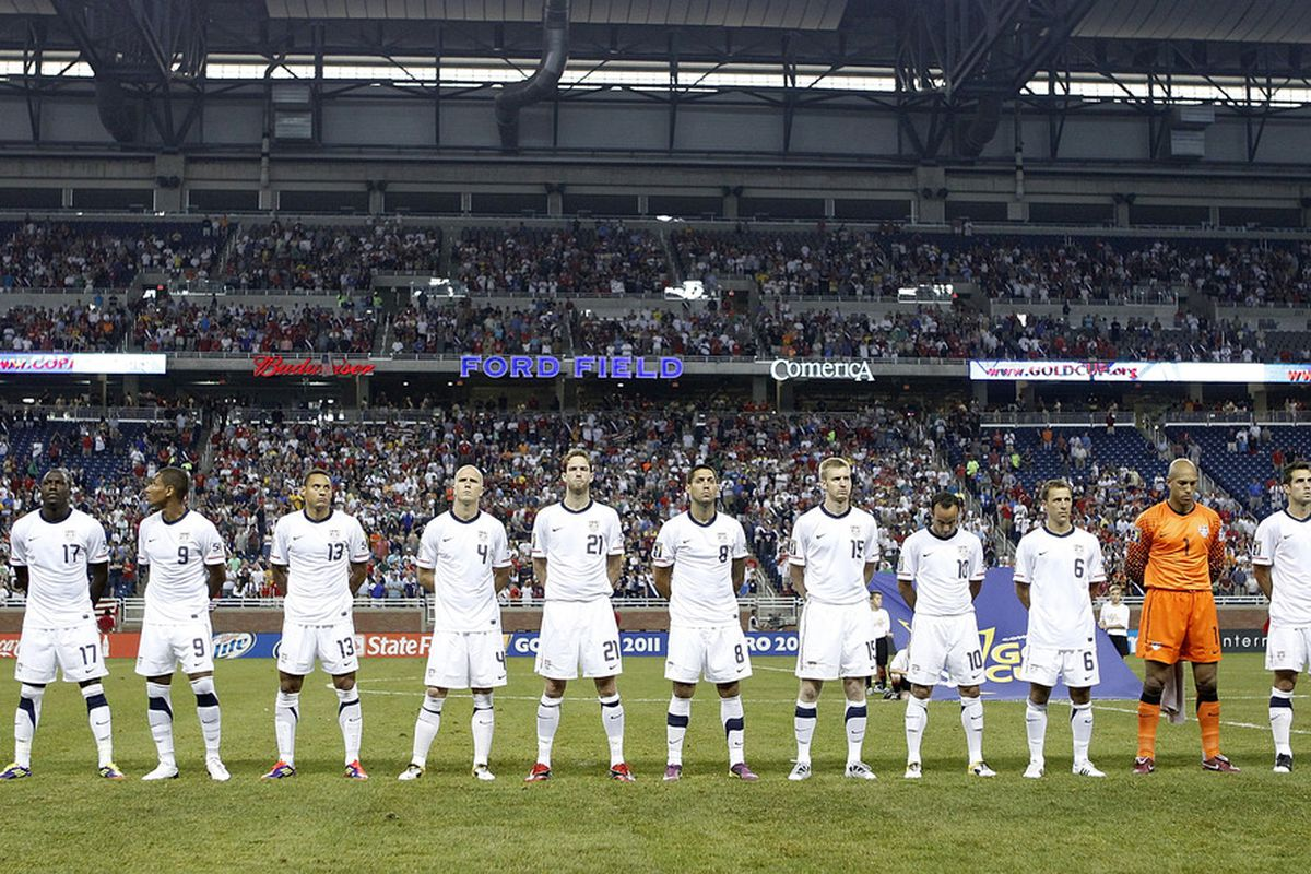 DETROIT, MI - JUNE 7:  Team United States stands for the National Anthem prior to playing Canada during the 2011 Gold Cup  at Ford Field on June 7, 2011 in Detroit, Michigan. The United States won the game 2-0. (Photo by Gregory Shamus/Getty Images)