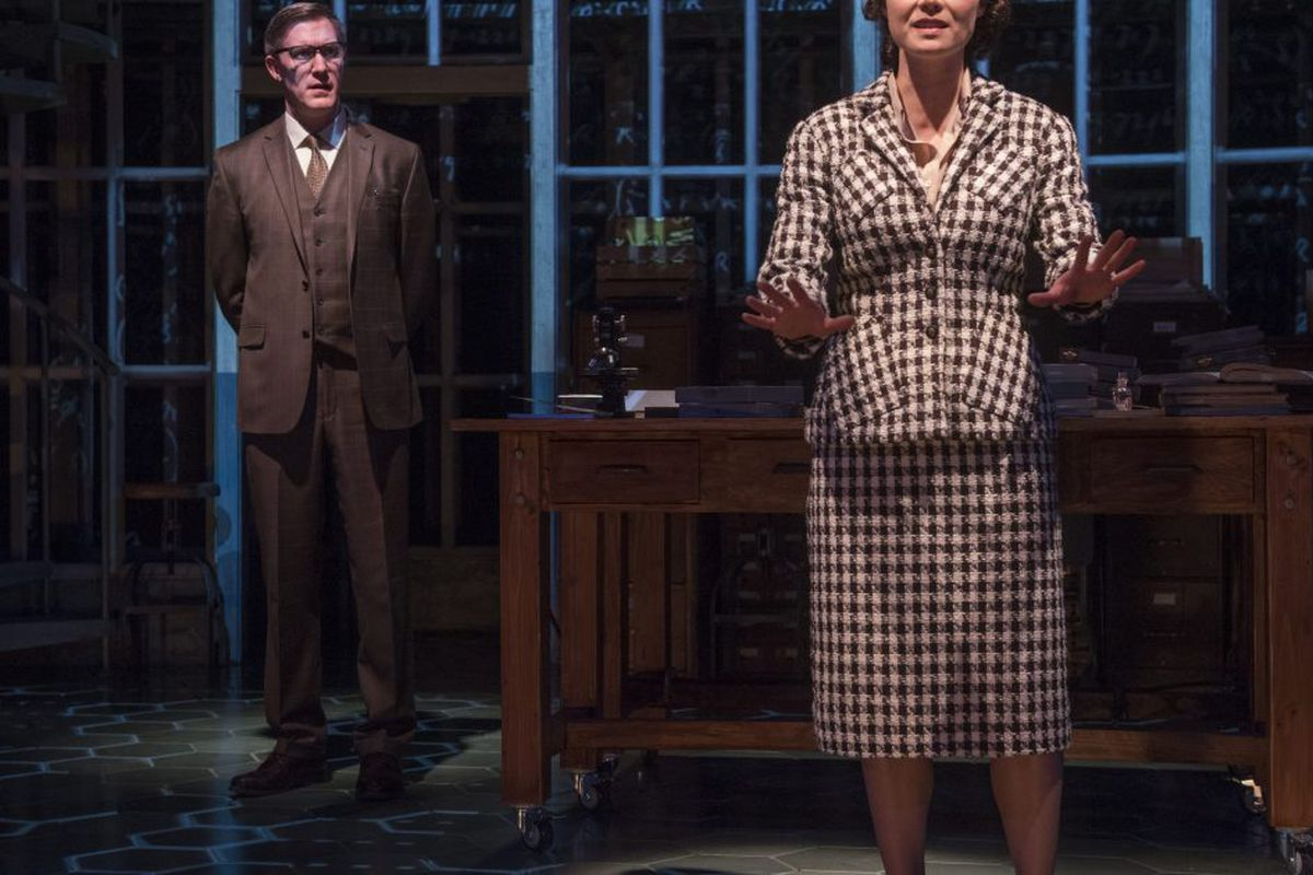 """Dr. Rosalind Franklin (Chaon Cross, right) works for Dr. Maurice Wilkins (Nathan Hosner) in """"Photograph 51"""" at Court Theatre. 