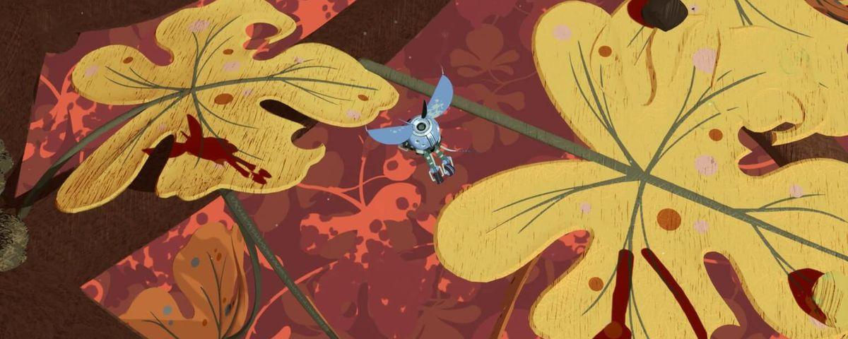 A bug-shaped mech flying over massive leaves