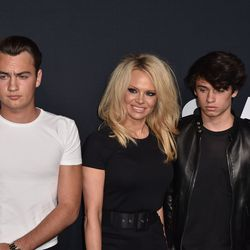 Pamela Anderson and her sons Brand Lee (L) and and Dyland Lee (R). Photo: C.Flanigan/Getty Images
