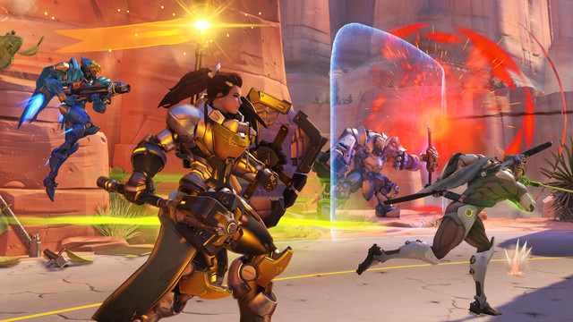 Overwatch - a balanced team of Pharah, Brigitte, Reinhardt, and Genji approaches the payload on Route 66