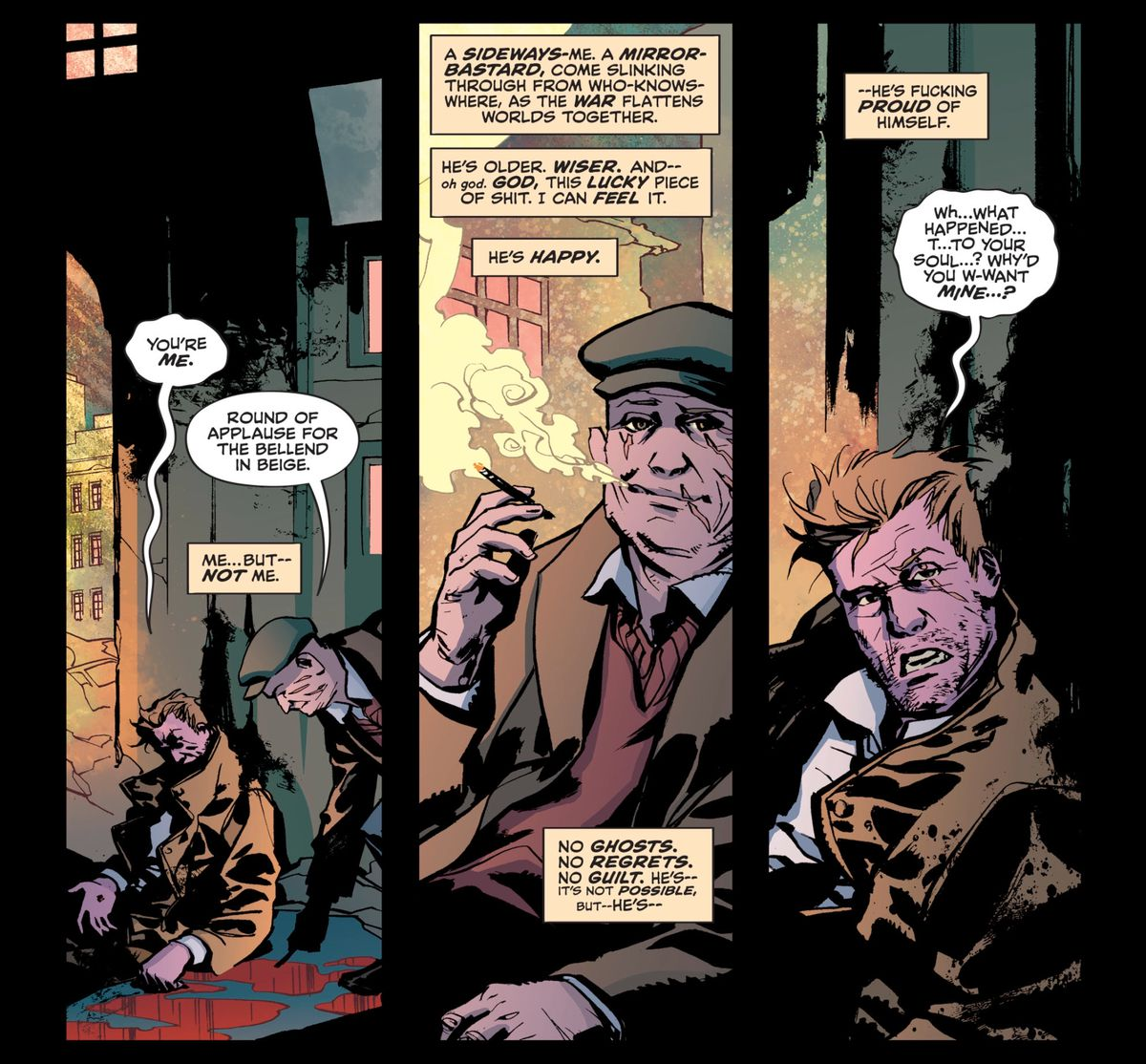 Constantine meets an old man in a newsboy cap, with scars across his face and a long cigarette in his fingers, and realizes it's an older version of himself, in Hellblazer #1, DC Comics (2019).