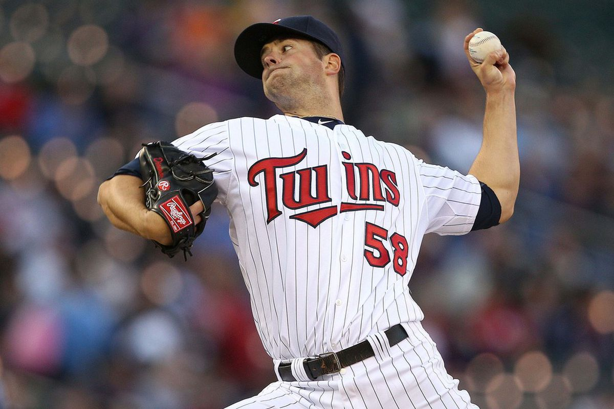 May 8, 2012; Minneapolis, MN, USA: Minnesota Twins starting pitcher Scott Diamond (58) delivers a pitch in the first inning against the Los Angeles Angels at Target Field. Mandatory Credit: Jesse Johnson-US PRESSWIRE