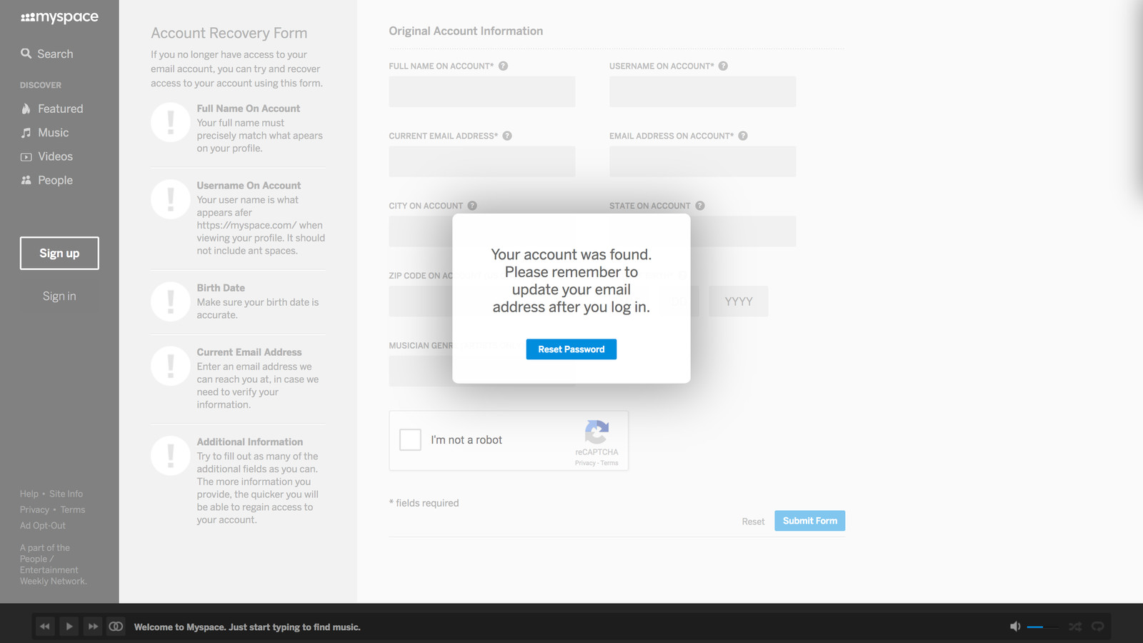 Myspace Lets You Hijack any Account Just by Knowing the Person's Birthday
