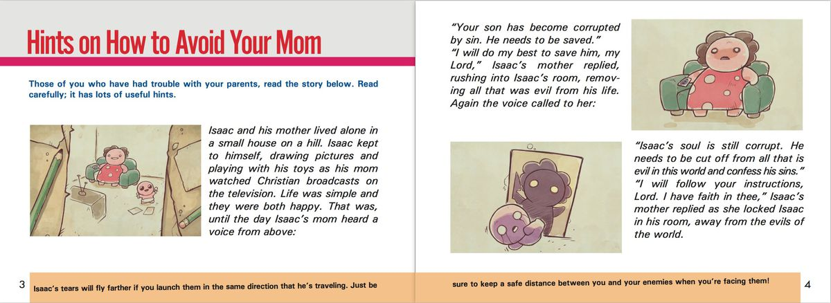 The Binding of Isaac: Afterbirth+ instruction booklet, pages 3-4