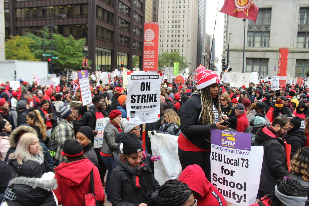 A week into their 11-day strike, Chicago teachers and supporters rallied on Oct. 23 to press their demands.