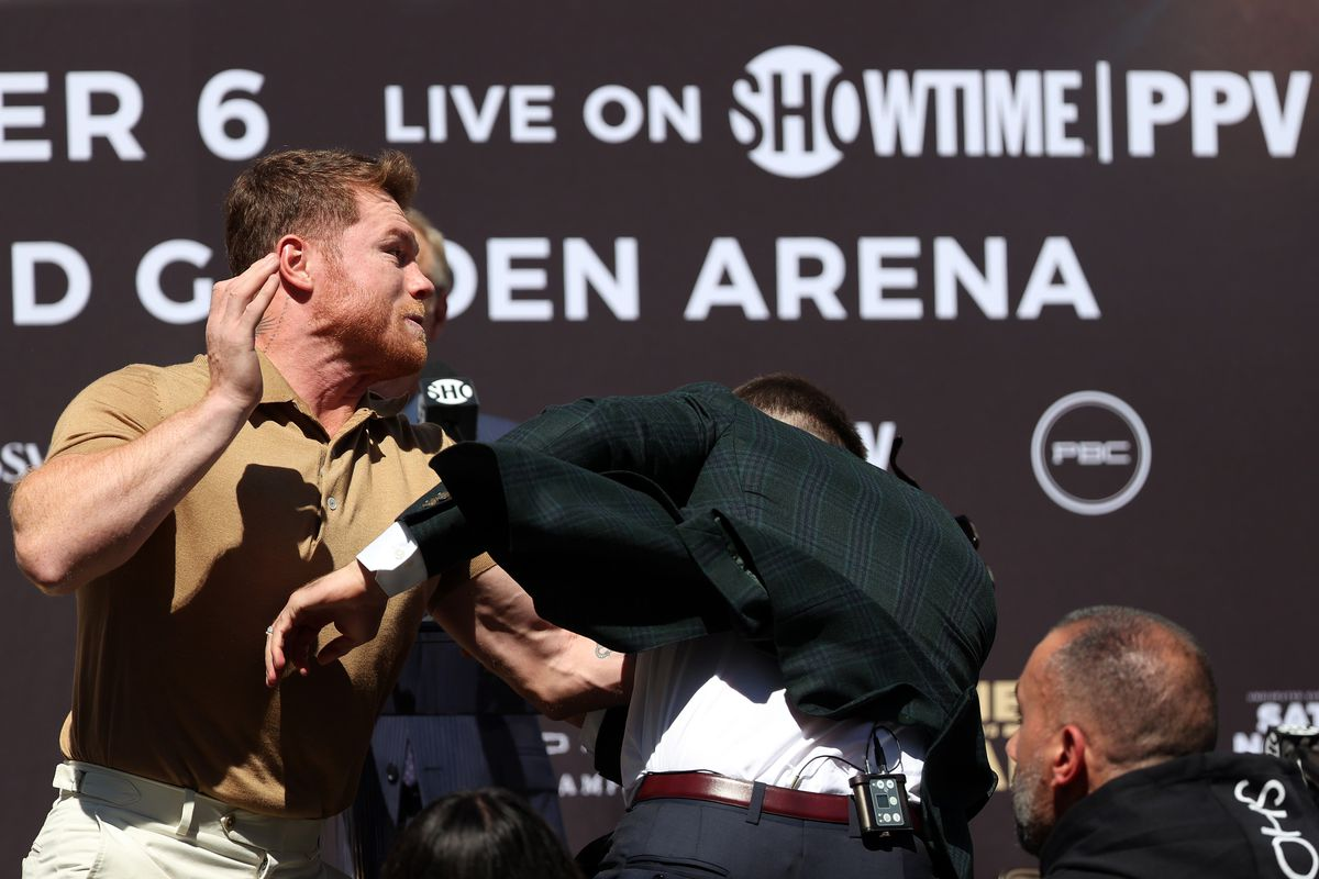 Canelo Alvarez and Caleb Plant went at it during their pre-fight presser on Tuessday.